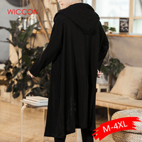 Men Chinese Style Long Casual Hooded Trench Coat Spring Autumn Male Streetwear Hip Hop Punk Gothic Cardigan Jacket Overcoat