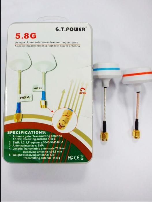 G.T.Power 5.8G SMA Four-leaf Clover Antenna Transmitting + Receiving Antenna  ( TX + RX )  For RC Quadcopter FPV  F13066 skyzone 5 8ghz rhcp 4 leaf fpv antenna tx rx sma rp sma