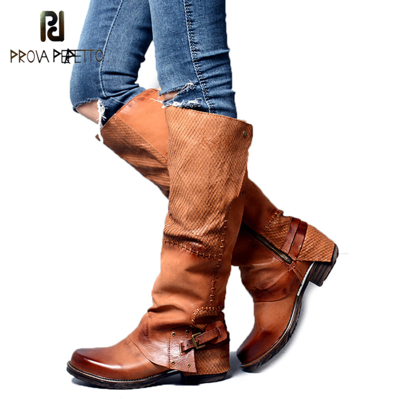 Prova Perfetto Winter Back Belt Buckle Strap Zipper Side Knee High Boots Real Leather Patchwork Square Toe Women Low Heel Boots цена