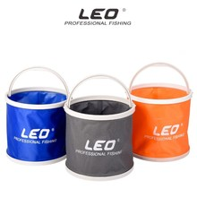 LEO Canvas Bucket Plastic Bottom Camping Hiking Fishing Portable Folding Bucket Fishing Tackle Barrel In Zipped Storage Bag