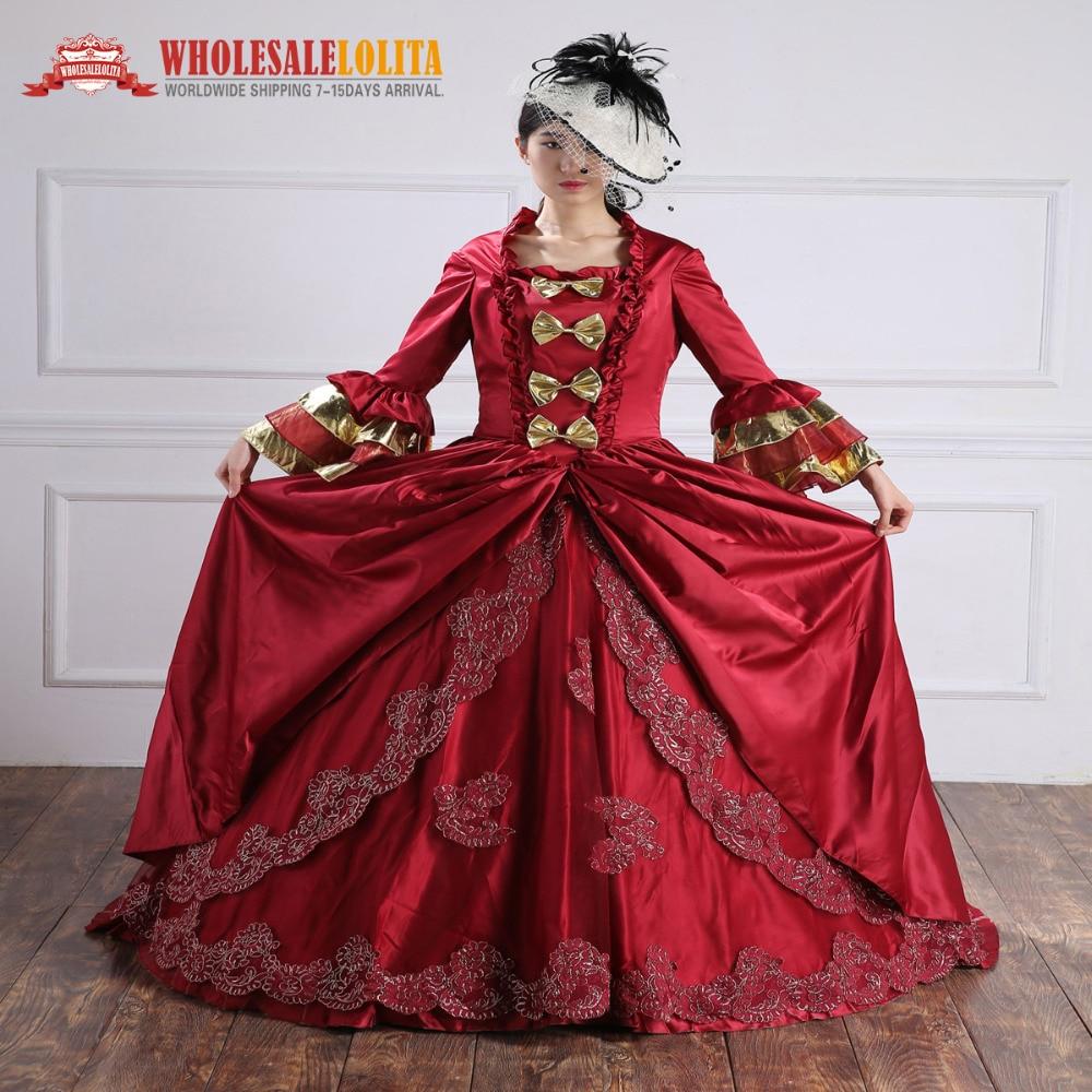 Burgundy Belle Gown / 18th Century Ball զգեստի մեծածախ - Կանացի հագուստ