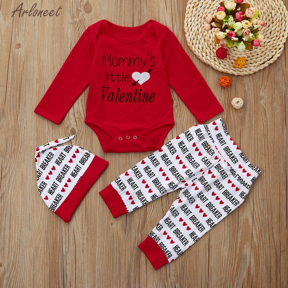 TELOTUNY Baby Girl Clothes Newborns Clothes Baby Boy Letter Romper +Pants+Hat Valentines Day Outfits Set Y120230