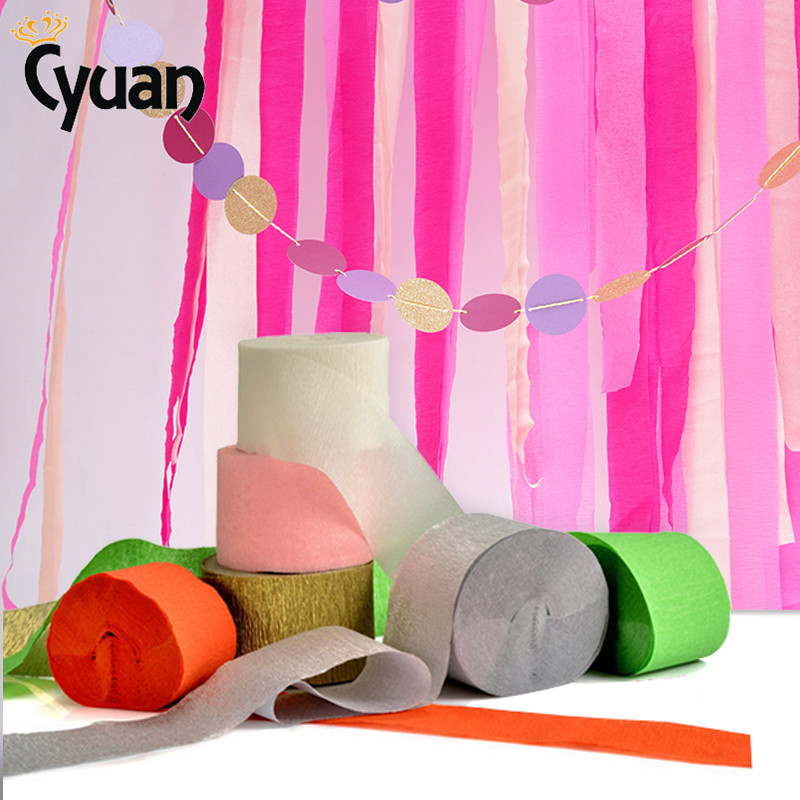 25M Crepe Paper Streamer Roll Crinkled Crepe Paper Craft DIY Flower Wrapping Fold Scrapbooking Birthday Wedding Backdrop Decor