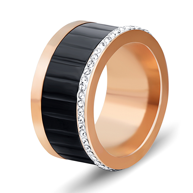 New Crystal Rings For Women White Rhinestone Stainless Steel Gold/Rose Gold Color Wedding Female Round Rings Teen Jewelry