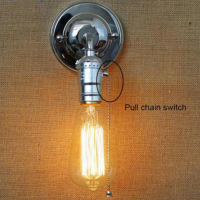 Led Wall Lights Pull Chain Switch Loft Style Retro Vintage Lamp Bedroom Bedside Lampen Stair Wandlamp