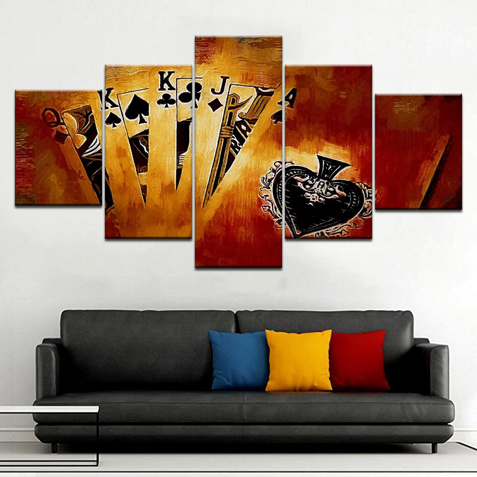 Wall Art Canvas Painting Art Poker Cards living room Home Decor Gambling Poker Picture HD Prints for Club Casino Wall Decoration in Painting Calligraphy from Home Garden
