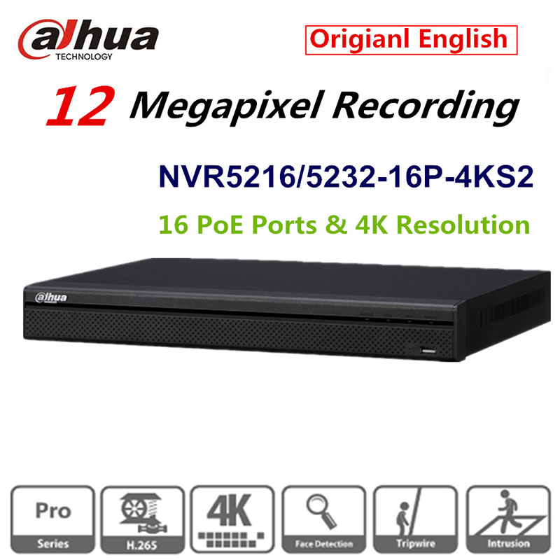 DaHua Original English Version 32 Channel 1U 16PoE Ports 4K Network Video Recorder NVR5232 16P 4KS2 H.265