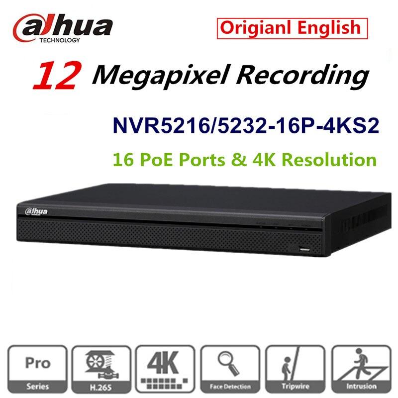 Dahua оригинальный английский версия 32 канала 1u 16poe Порты 4 К сети видео Регистраторы nvr5232-16p-4ks2 H.265