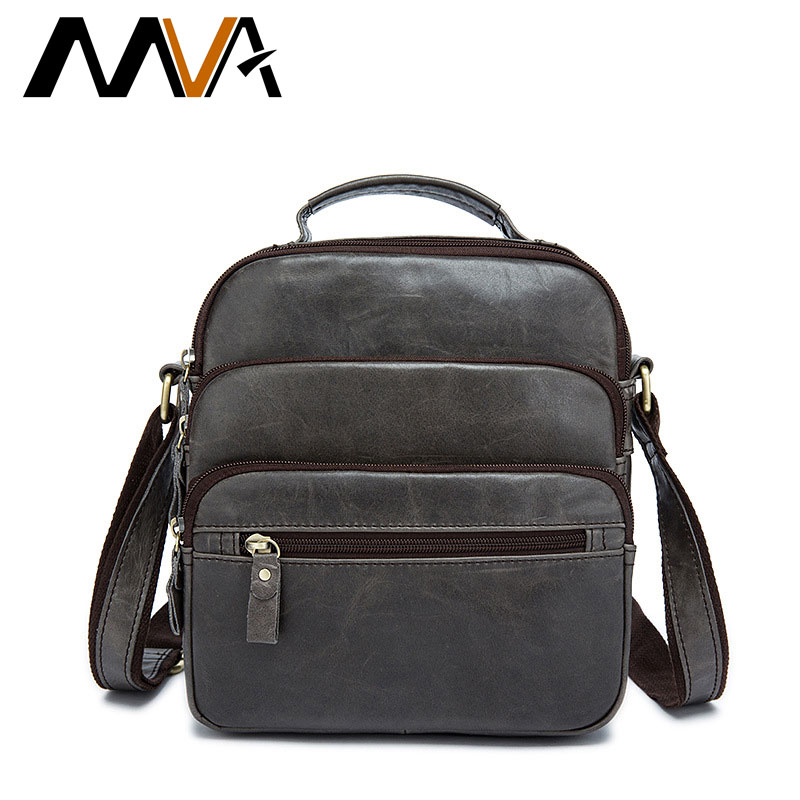 MVA New Men Genuine Leather Bag Men's Shoulder Bags Retro First Layer Leather Messenger Bag Male Zipper Solid Color Bags ZZ-53 the rushed casual polyester unisex zipper solid soft new spring and summer 2017 leather bags bag shoulder messenger retro ms