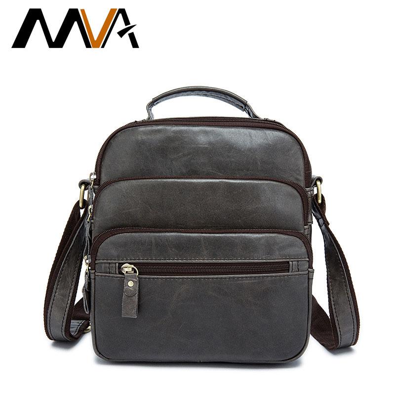 MVA New Men Genuine Leather Bag Men's Shoulder Bags Retro First Layer Leather Messenger Bag Male Zipper Solid Color Bags ZZ-53 стоимость