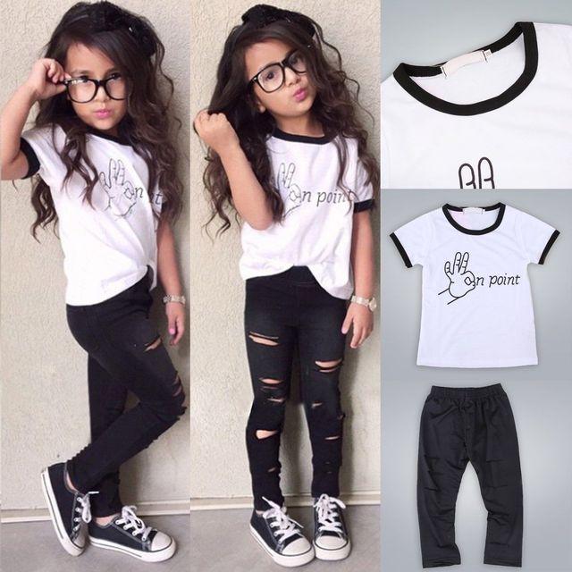 b3257963d2b4b Enfant en bas âge Enfant Bébé Fille Tenue T-shirt Tops + Pantalon Leggings  Vêtements
