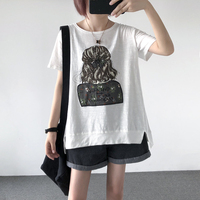 2019 Special Offer Tumblr Kpop Korean T shirts Women Cotton Casual Knitted Summer Loose O neck Embroidery Letter Long Cloth