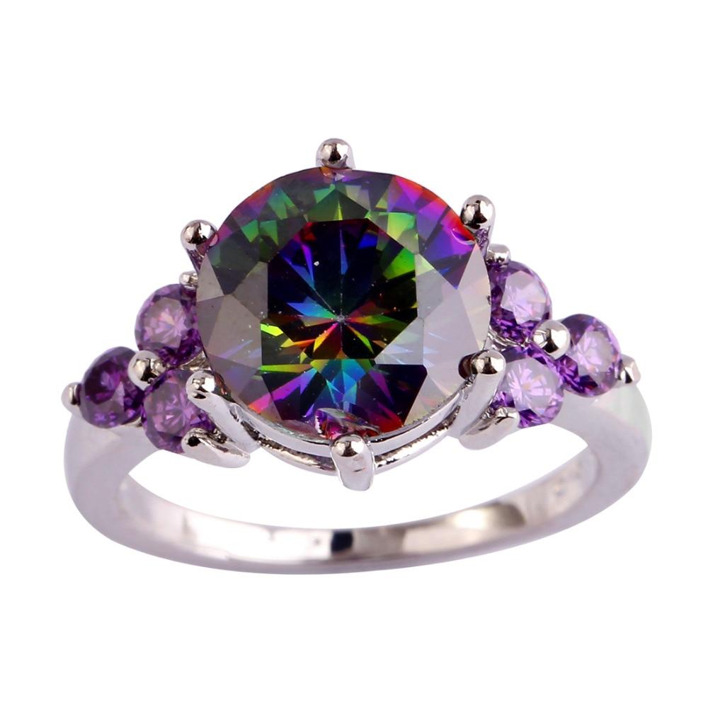 lingmei Wholesale Mysterious Rainbow CZ & Purple Silver Ring Storlek - Märkessmycken - Foto 3
