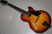 New 7 String Electric Acoustic Guitar Seme Hollow Body In Sunburst 12930