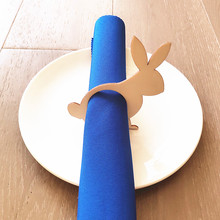 12pcs Laser Cut Personalized Wood Easter Rabbit Napkin Rings Holders Table Decoration Bunny Ring Holder