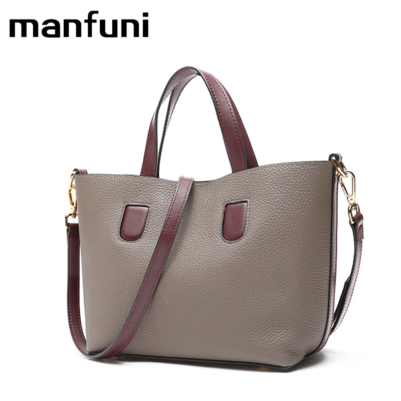 MANFUNI 2018 Genuine Leather Women's Handbags Cow Leather Casual Tote Female Vintage Ladies messenger Bags Ladies Shoulder Bag vintage women genuine leather handbags ladies retro elegant shoulder messenger bag cow leather handmade womans bags