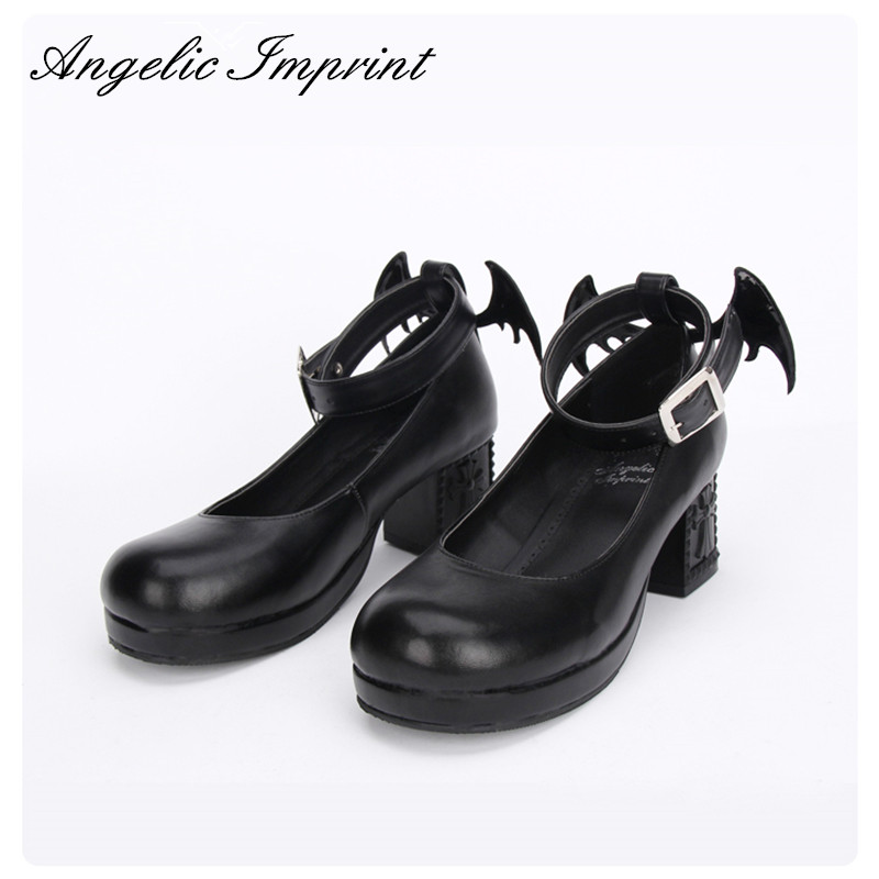 The Devil s Wing 6cm Block Heel Ankle Strap Gothic Punk Lolita Shoes for Girls BLACK