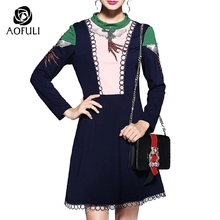 S- 5xl Luxury Embroidery Beadings Phoenix Autumn Dresses Contrast Color Block Long Sleeve A-Line Dress Women Casual Clothes 5781