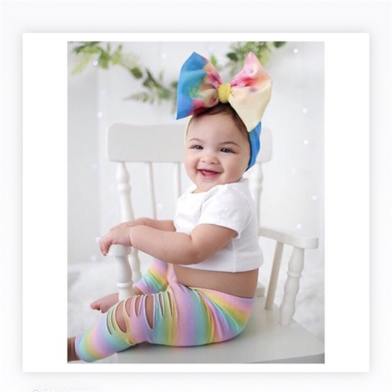Baby Girls Headband Pre-tied Turban Headwrap, Super Soft And Stretchy Printing Hair Bows  Baby Headband Hair Accessories