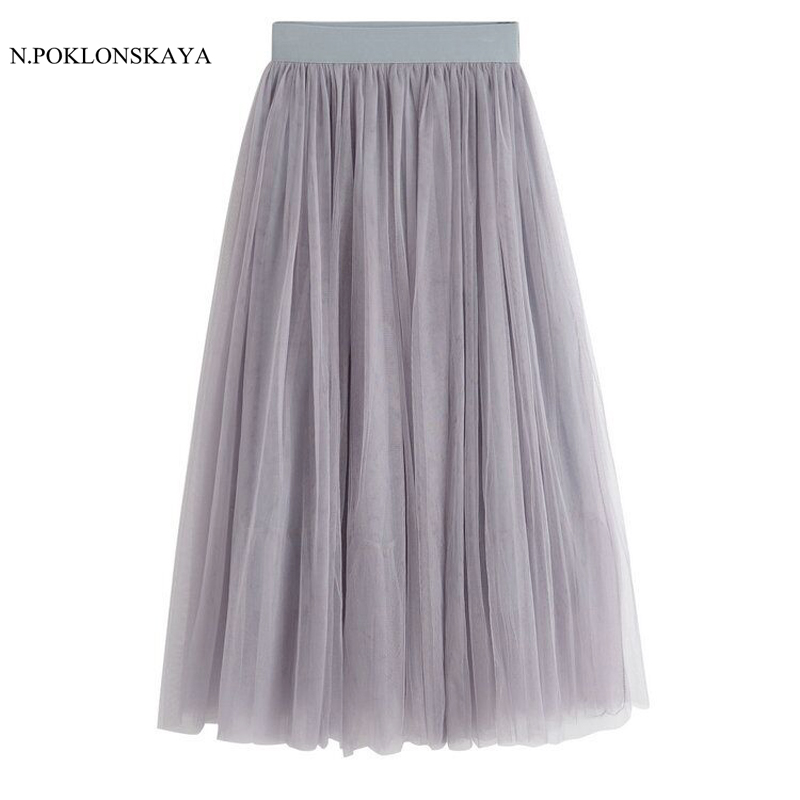 Fashion Women Mesh Ball Gown Skirts Elastic Waist Tulle Solid Color 2017 Womens Spring Summer Skirt 4 Layers Casual Skirts CGH