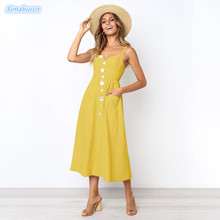 Sexy Backless Solid Color Bohemian Summer Loose Dress Women 2019 Beach Sleeveless Spaghetti Strap Yellow Black Dresses Female все цены