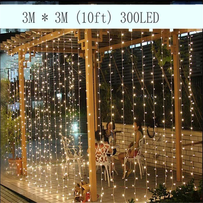 3M x 3M 300LED Outdoor Home Christmas Decorative xmas String Fairy Curtain Strip Garlands Party Lights For Wedding Decorations 10m 100 led 110v 8 mode fancy ball lights decorative christmas party festival twinkle string lamp strip rgb us plug