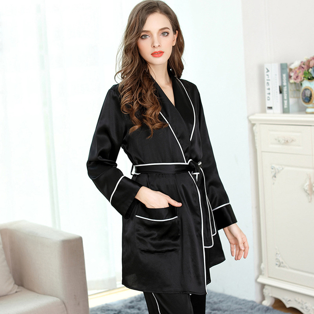 013e051b4c ... Elegant black 100% genuine silk robes pajamas sets women noble nighty  Gown sets women silk  Ladies Sexy Silk Satin Night Dress ...