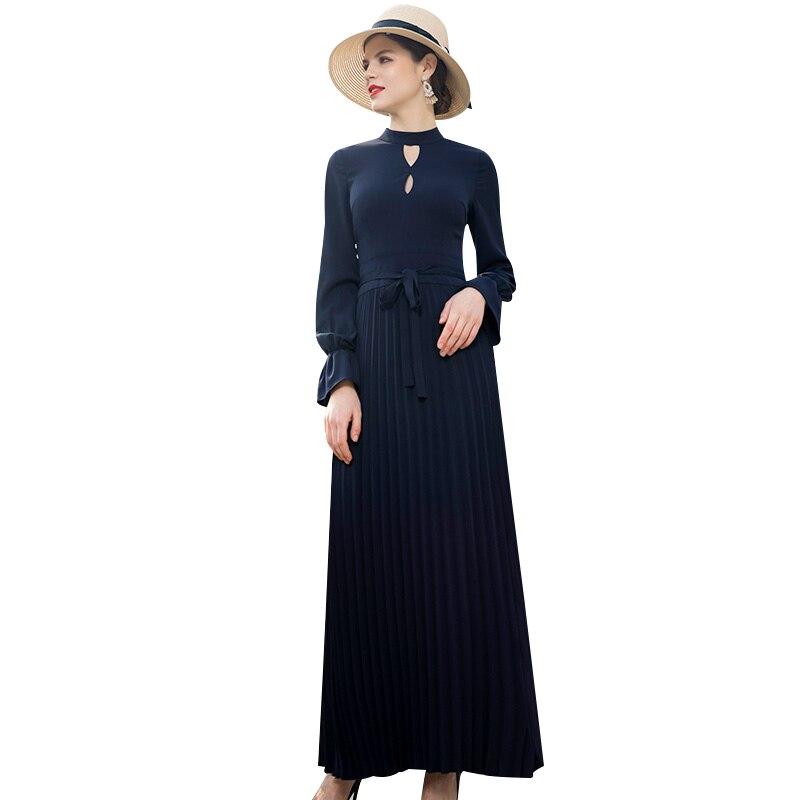 Printemps bureau dame Trench robe à manches papillon robe plissée piste cheville longueur pleine robe DZ2072