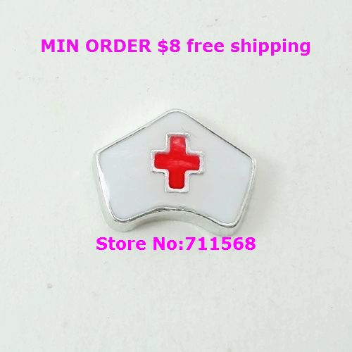 White Nurse Cap Floating Charm Red Cross Charm Pendants For Floating Glass Locket Diy Accessories For Sale