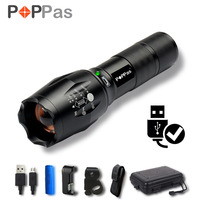 POPPAS Micro USB 1300LM CREE XML-T6 L2 Chips Flashlight LED Torch Zoomable Ultra Bright Handheld Water Resistant Torch 2400mAh