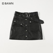 Women Black Skirts Genuine Leather High Waist Rivet Belt Decoration Slim Fit Korean Fashion Ladies Short Real Sheepskin