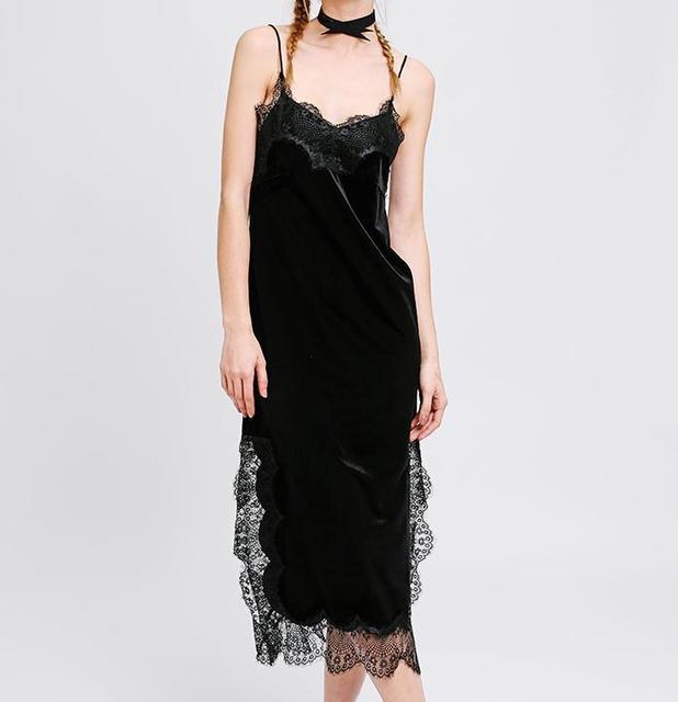 De las nuevas mujeres de moda vestido de terciopelo pijama estilo con tiras de encaje de terciopelo vestido de las señoras sexy vestido de invierno de la vendimia de hendidura media envío libre