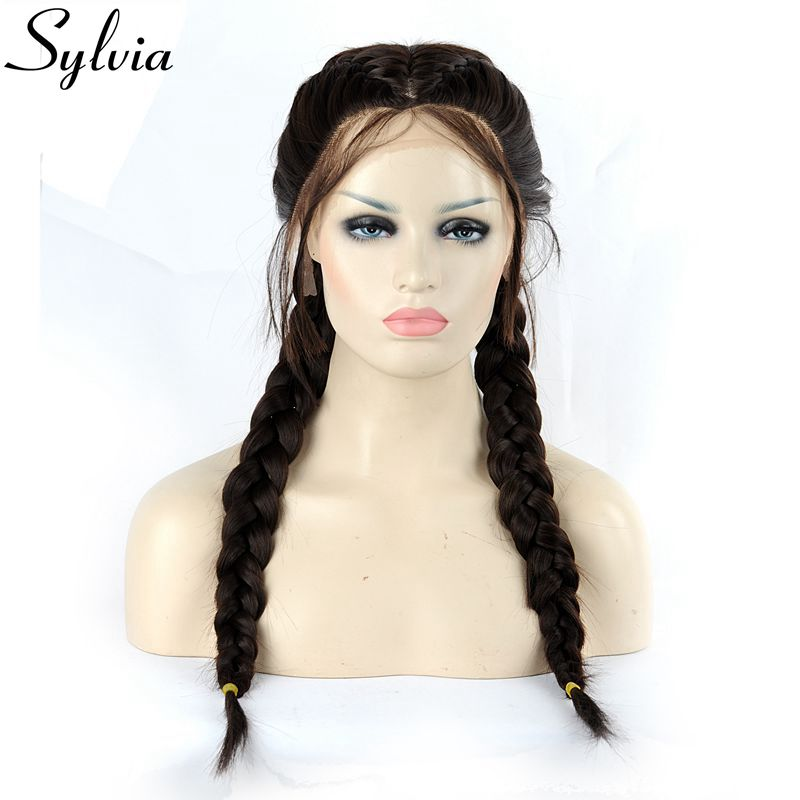 Sylvia Natural Hairline Brown Ponytail Synthetic Lace Front Wig With Baby Hair Double Braids Heat Resistant Fiber Middle Part