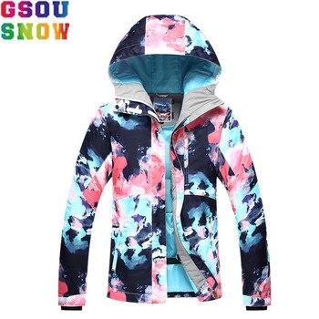 Chaqueta de esquí de nieve GSOU para mujer traje de esquí de invierno impermeable barato traje de esquí para acampar al aire libre mujer abrigo Snowboard ropa camuflaje