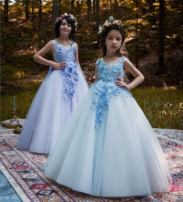 Flower Girl Dress Beaded Appliques Bow Tulle Ball Gown Pageant Gowns Hot Sale High Quality with Tiered Vestidos Longo New 0-16Y цены онлайн