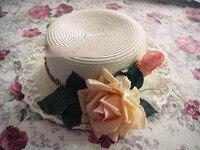 כובעי עלה עיטור תחרה המתוקה לוליטה נסיכת כובע צוער שווי מגבעות לבד strawhat מקורי מותאם אישית בעבודת יד כפרי m ( 56 - 58 ס