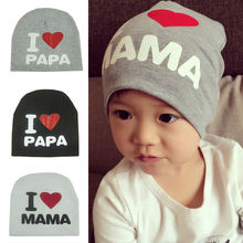 Fashion Cute Unisex Boy Girl Children Letter I Love Mama Papa Soft Warm Cotton Hat Cap Beanie Apparel Accessories