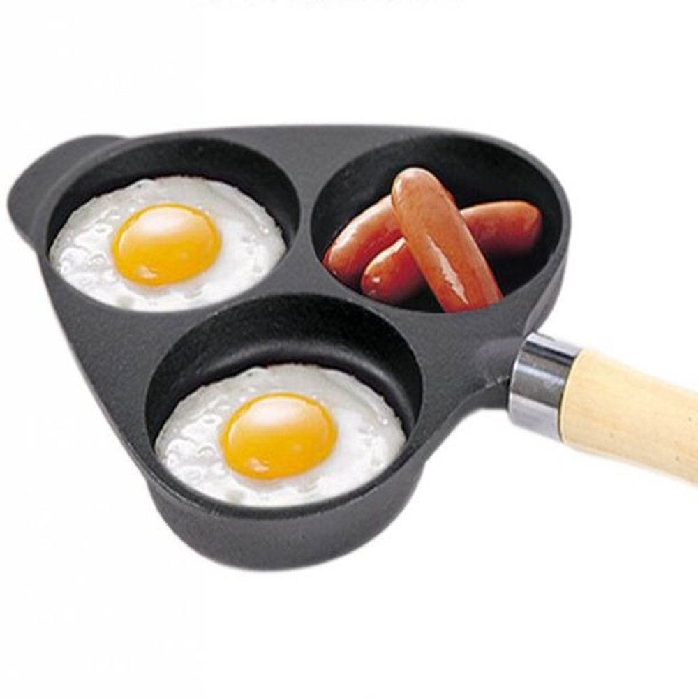 Moule à omelette en fonte à trois trous moule à gâteau omelette sans revêtement wx9131731