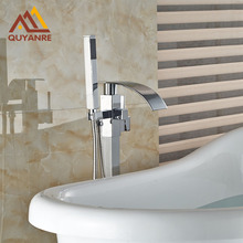 Floor Mounted Bath & Shower Faucets Waterfall Spout Hot And Cold Water Mixer Taps Chrome Polish