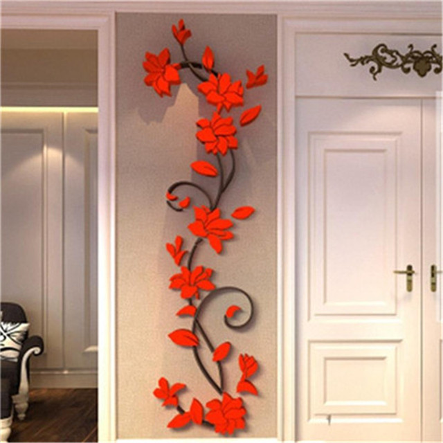 DIY 3D Acrylic Crystal Wall Stickers Vase Flower Tree Removable Art Vinyl  Wall Decal Living Room