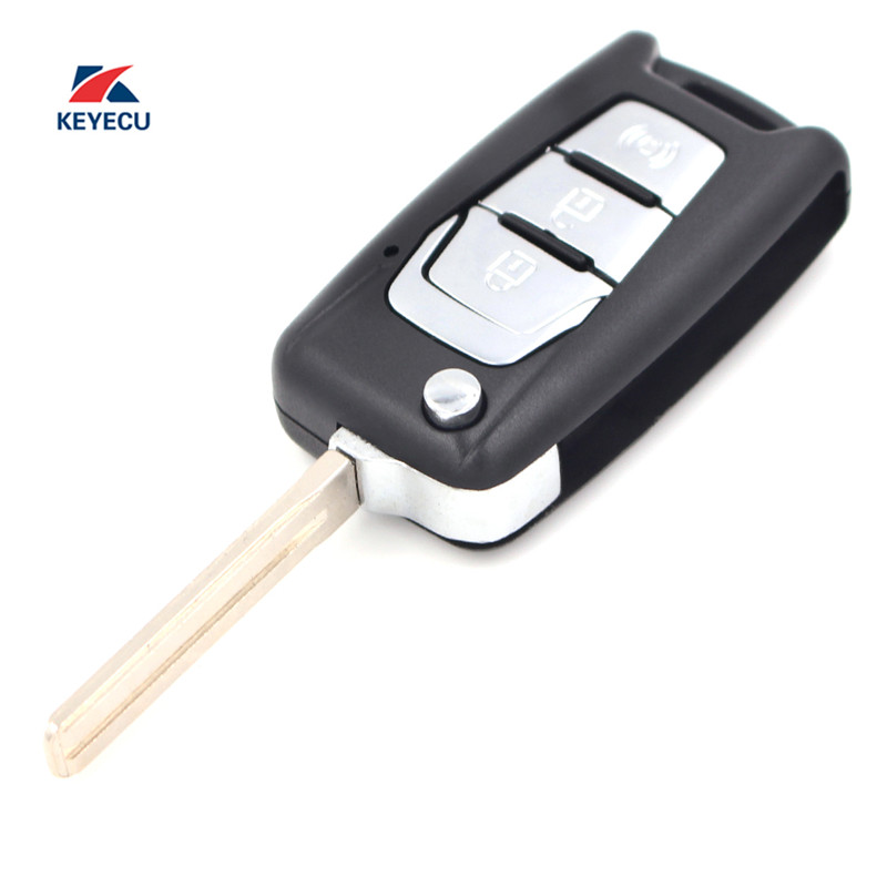 KEYECU Replacement Flip Folding Remote Key Shell Case Fob 3 Button for SsangYong Korando New Actyon C200 2016 2017 image