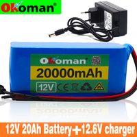 High quality 18650 Battery pack Large capacity 12v 20ah 18650 lithium battery protection board 12v 20000mAh capacity+Charger