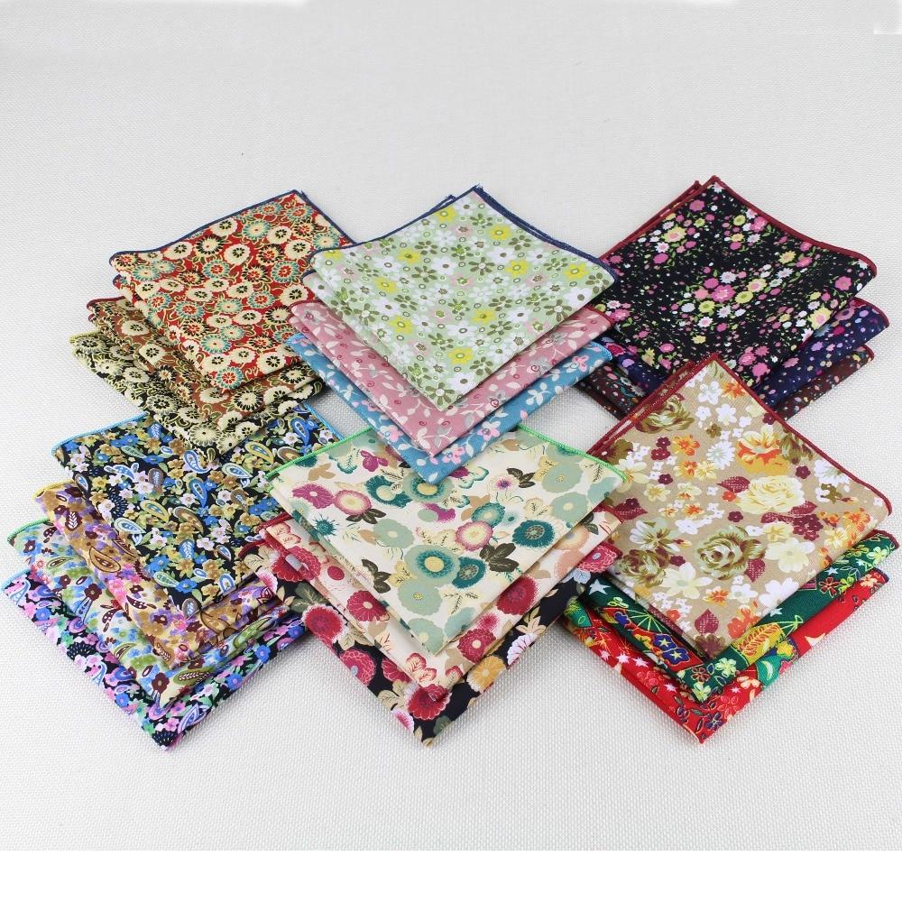 High Quality Hankerchief Scarves Vintage Cotton Hankies Men's Pocket Square Handkerchiefs Rose Flower 25*25cm