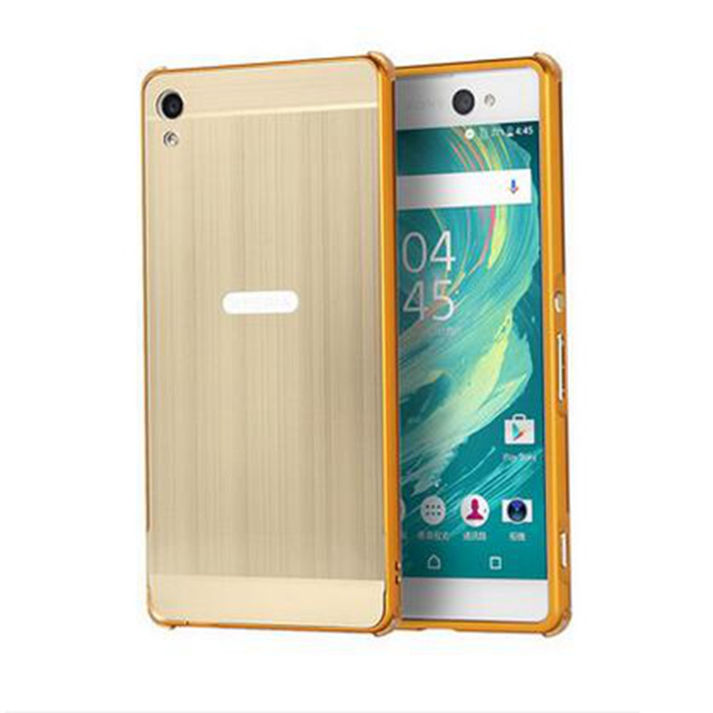 For Coque Sony Xperia XA Cases Gold ULtra thin Luxury Aluminum Frame Brushed Metal Back Cover For Sony xperia XA F3112 nf215