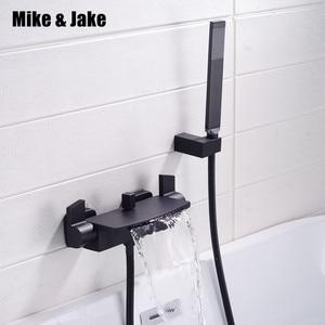 Image 1 - Matte black bathtub mixer hot and cold waterfall bath faucet bath faucet brass black bathtub tap