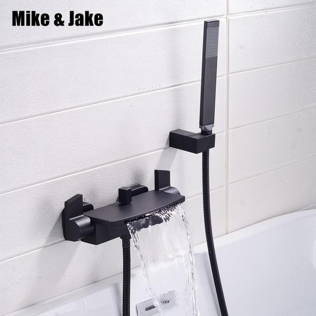 Matte black bathtub mixer hot and cold waterfall bath faucet bath faucet brass black bathtub tap
