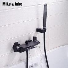 Mezclador de bañera negro mate, grifo de baño fría y caliente de cascada, grifo de bañera de latón negro