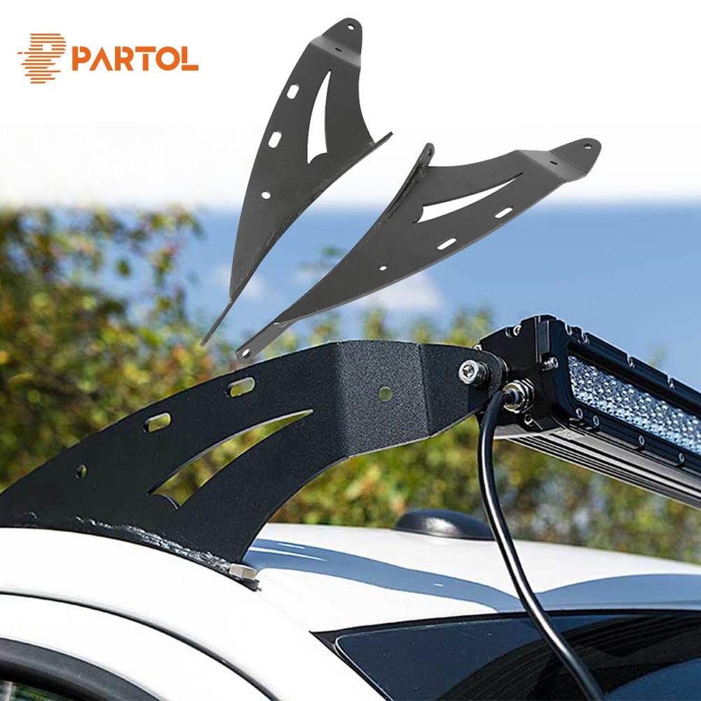 Partol 2/pcs Upper Windshield 50-52 Straight LED Light Bar Mount Brackets Work Light Mount Kit for Ford F150 4WD/2WD 2004-2014