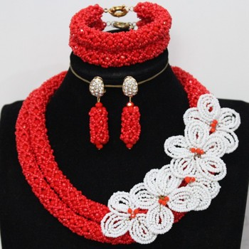 4UJewelry Fine Wedding Jewelry Sets Red and Green / Red And White Flower African Style Women Necklace 2 Rows Nigerian Party Gift