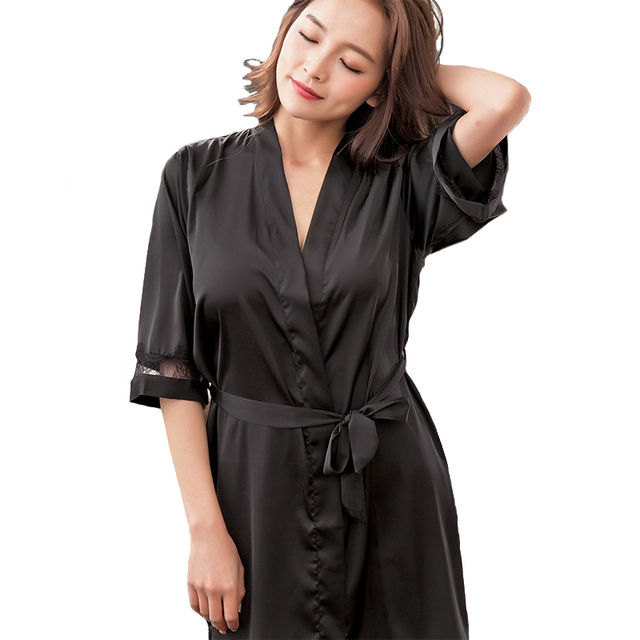 Black Sexy Ladies Kimono Bath Robe Summer Casual Nightgown Nightdress Ice  Silk Home Dressing Gown Solid ecfcc4c96